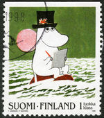 FINLAND - 1998: shows Moomin Cartoon Characters, by Tove Jansson: Boy Moomin drawing with pad and pencil — Stock Photo
