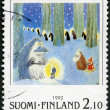 FINLAND - 1992: shows Moomin Cartoon Characters, by Tove Jansson: Winter scene in forest — Stock Photo #18636467