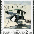 FINLAND - 1992: shows Moomin Cartoon Characters, by Tove Jansson: Winter scene, ice covered bridges — Stock Photo