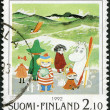 FINLAND - 1992: shows Moomin Cartoon Characters, by Tove Jansson: Characters on beach — Stok Fotoğraf #18636477