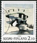 Finlandia - 1992: illustrato moomin personaggi dei cartoni animati, di tove jansson: scena invernale, ponti coperti di ghiaccio — Foto Stock