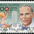 Stock Photo: FINLAND - 1987: shows Arvo Ylppo (1887-1992), pediatrics pioneer, Child and LastenlinnChildren's Hospital