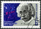 USSR - 1979: shows Albert Einstein (1879-1955), theoretical physicist, Equation and Signature — Stock Photo