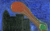 Kid's oil painting of town at night — Stock Photo
