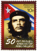 RUSSIA - 2009: shows commander Ernesto Guevara de la Serna (Che Guevara) and the Republic of Cuba national flag — Stock fotografie