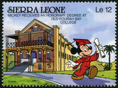SIERRA LEONE - 1990: shows Mickey Mouse an honorary degree at Old Fourah Bay College, Walt Disney Characters — Stock Photo