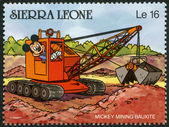 SIERRA LEONE - 1990: shows Mickey Mouse mining bauxite, Walt Dis — Stock Photo