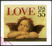 "USA - 1995: shows word ""love"" and Cherub from Sistine Madonna, by Raphael — Stock Photo"