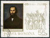Roménia - 1968: mostra demonstrando estudantes e nicolae balcescu (1819-1852), por gheorghe tattarescu — Fotografia Stock