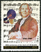 NORTH KOREA - 1987: shows Christoph Gluck (1714-1887), series Famous Composers — Stock Photo