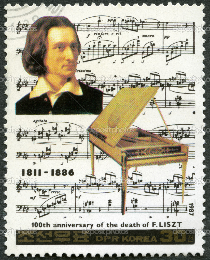 NORTH KOREA - CIRCA 1987: A stamp printed in North Korea shows Franz Liszt (1811-1886), series Famous Composers, circa 1987 — Stock Photo #21184461