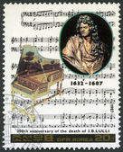 NORTH KOREA - 1987: shows Jean-Baptiste Lully (1632-1667), series Famous Composers — Stock Photo