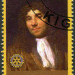 RWANDA - 2009: shows portrait of Antonie van Leeuwenhoek (1632-1723) - Foto de Stock