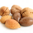Pecan nuts, walnuts and almonds — Stock Photo