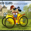 Stock Photo: ST. VINCENT GRENADINES - UNION ISLAND - 1989: shows Mickey Mouse and Minnie Mouse, 1893 Peugeot, series Disney characters in various French vehicles