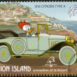 ST. VINCENT GRENADINES - UNION ISLAND - 1989: shows Donald Duck, 1919 Citroen, series Disney characters in various French vehicles - Stok fotoğraf