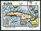 CUBA - 1973: shows Map of Cuba, 1572, by Abraham Ortelius — Stock Photo