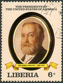 LIBERIA - 1982: shows President Benjamin Harrison (1889-1893), series the Presidents of the USA — Foto de Stock