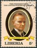 LIBERIA - 1982: shows President Calvin Coolidge (1923-1929), series the Presidents of the USA — Stock Photo