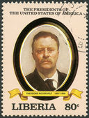 LIBERIA - 1982: shows President Theodore Roosevelt (1901-1909), series the Presidents of the USA — Stock Photo