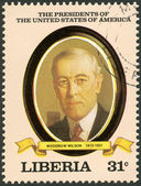 LIBERIA - 1982: shows President Woodrow Wilson (1913-1921), series the Presidents of the USA — Stock Photo