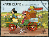 ST. VINCENT GRENADINES - UNION ISLAND - 1989: shows Mickey Mouse and Minnie Mouse, 1878 La Mancelle, series Disney characters in various French vehicles — Stock Photo