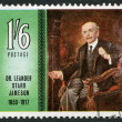 RHODESIA - 1967: shows Dr. Leander Starr Jameson (1853-1917), pioneer and Prime Minister of Cape Colony, by Frank Moss Bennett, series Famous Rhodesians - Stock Photo