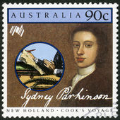 AUSTRALIA - 1986: shows Sydney Parkinson (1745-1775), artist, series Cook's New Holland Expedition — Stockfoto