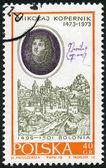 POLAND - 1970: shows Nicolaus Copernicus (1473-1543) by Bacciarelli and View of Bologna — Stock Photo