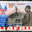LIBERIA - 1962: shows president Tubman (1895-1971), Statue of Liberty, New York Skyline and Flags of US and Liberia, president Tubman visit to the US in 1961 - Stock Photo