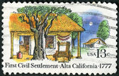 USA - 1977: shows Farm Houses, El Pueblo de San Jose de Guadalupe, 1st civil settlement in Alta California, 200th anniversary — Stock Photo