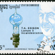CAMBODI- 1992: shows Thomas Edison (1847-1931), electric light bulb, devoted EXPO-92 in Seville — Stock Photo #22673887