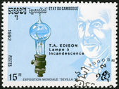 CAMBODIA - 1992: shows Thomas Edison (1847-1931), electric light bulb, devoted EXPO-92 in Seville — Stock Photo