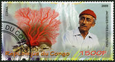 CONGO - 2009: shows coral and Jacques Cousteau (1910-1997) — Stock Photo