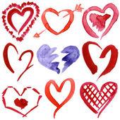 Abstract hand drawn watercolor hearts set — Stock Photo