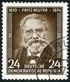 GERMANY - 1954: shows Fritz Reuter (1810-1874), writer, 80th anniversary of the death — ストック写真
