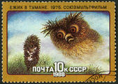USSR - 1988: shows Hedgehog in the Fog, 1975, series Animated Soviet Cartoons — Stock Photo