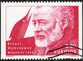 SWEDEN - 1990: shows Ernest Hemingway, Nobel Laureate in Literature, 1954 — Zdjęcie stockowe