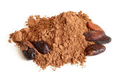 Cacao beans and cacao powder — Stock Photo