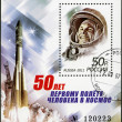"RUSSIA - 2011: shows Yuri Gagarin (1934-1968) and spaceship ""Vostok"", The 50th anniversary of the first human spaceflight — Stock Photo"