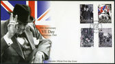GIBRALTAR - 2005 : shows Sir Winston Spencer Churchill (1874-1965), 60th Anniversary of Victory in Europe Day — Stock Photo