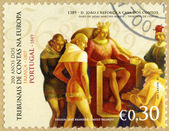 PORTUGAL - 2007: shows King John I Reinforces the Audit Office, by Jaime Martins Barata, series Audit Offices in Europe, Bicentennial — Stock Photo