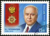 RUSSIA - 2012: shows Full Cavalier of the Order of Merit for the Fatherland V.S. Chernomyrdin (1938-2010) — Stock Photo