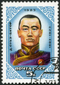 USSR - 1983: shows Sukhe Bator (1893-1923), Mongolian 's Republic Founder — Stock Photo