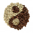 Coffee grains beans forming a yin yang symbol — Stock Photo