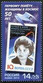 RUSSIA - 2013: shows portrait of Valentina Vladimirovna Tereshkova, soviet cosmonaut and engineer — Stock Photo