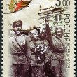 RUSSIA - 2005: shows welcome of victors in Moscow, 1945 (soldiers holding flowers), 60th anniversary of Victory in the Great Patriotic War of 1941-1945 — Stock Photo