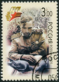 RUSSIA - 2005: shows at intervals between the battles, the Kalininsky Front, 1943 (a sitting soldier), 60th anniversary of Victory in the Great Patriotic War of 1941-1945 — Stock Photo