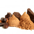 Cacao beans, chocolate, cacao powder and chocolate sweets — Stock Photo