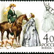 RUSSIA - 2004: shows riding habit for ladies, side-saddle riding — Stok fotoğraf